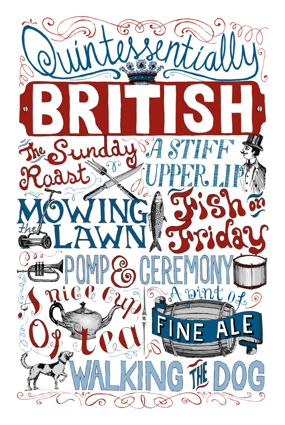 British Illustration Hand Lettered Art Print | The Enlightened Hound