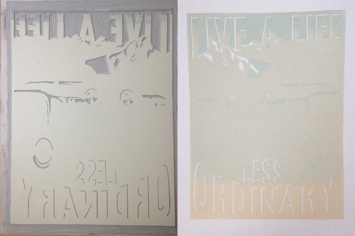 reduction linoprint lettering