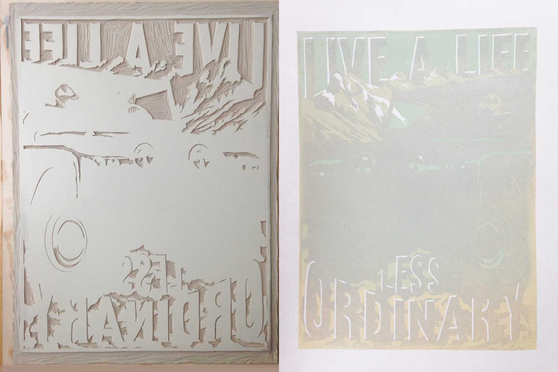 linoprint lettering