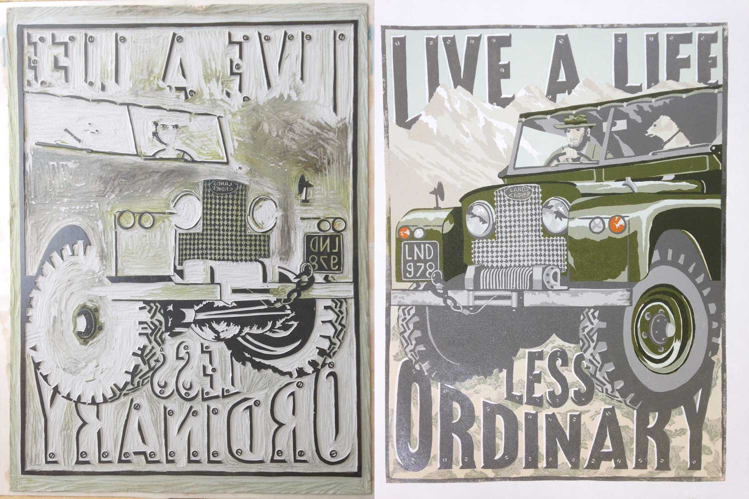 land rover printmaking