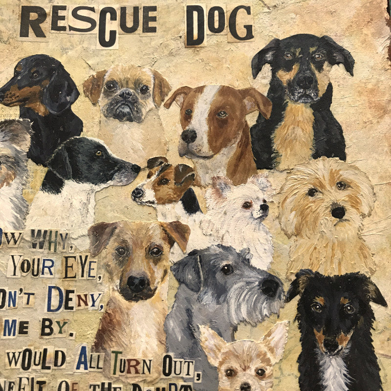 Rescue Dog art detail by Debbie Kendall