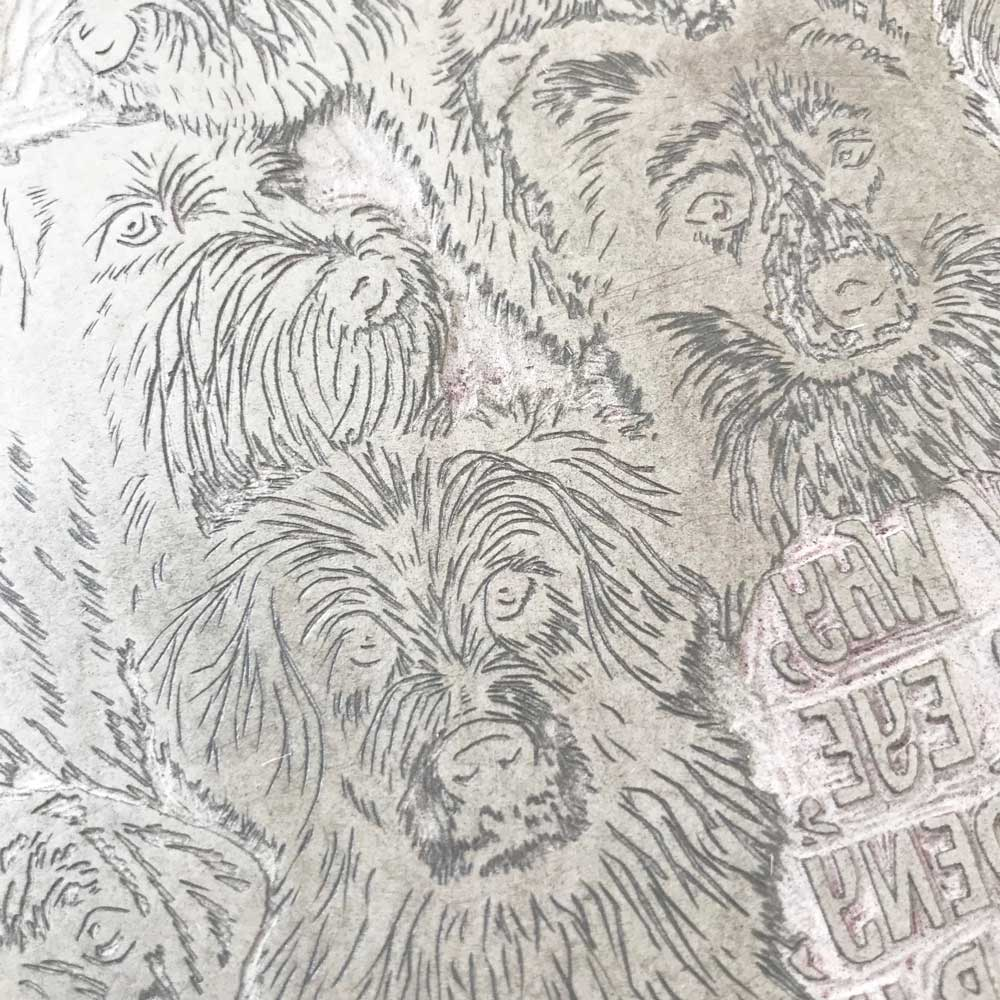 Rescue Dog print lino by Debbie Kendall