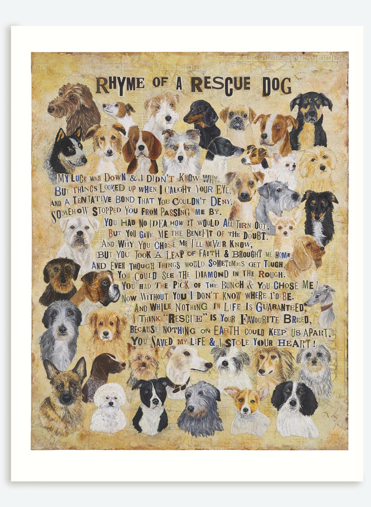 Rescue Dog Poem Print   The Enlightened Hound