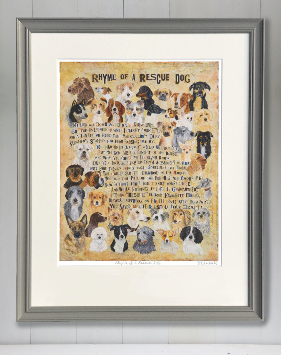 Framed Rescue Dog Fine Art Print by The Enlightened Hound