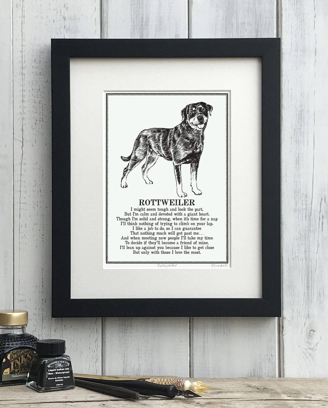 Rottweiler print illustrated poem by The Enlightened Hound