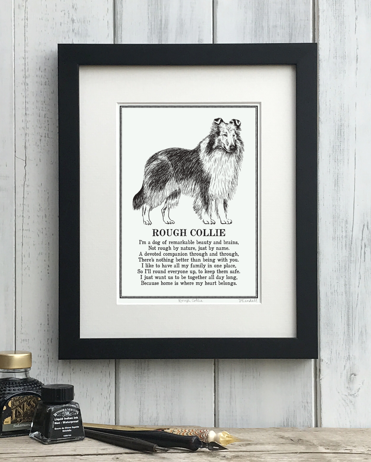 Rough Collie print illustrated poem by The Enlightened Hound