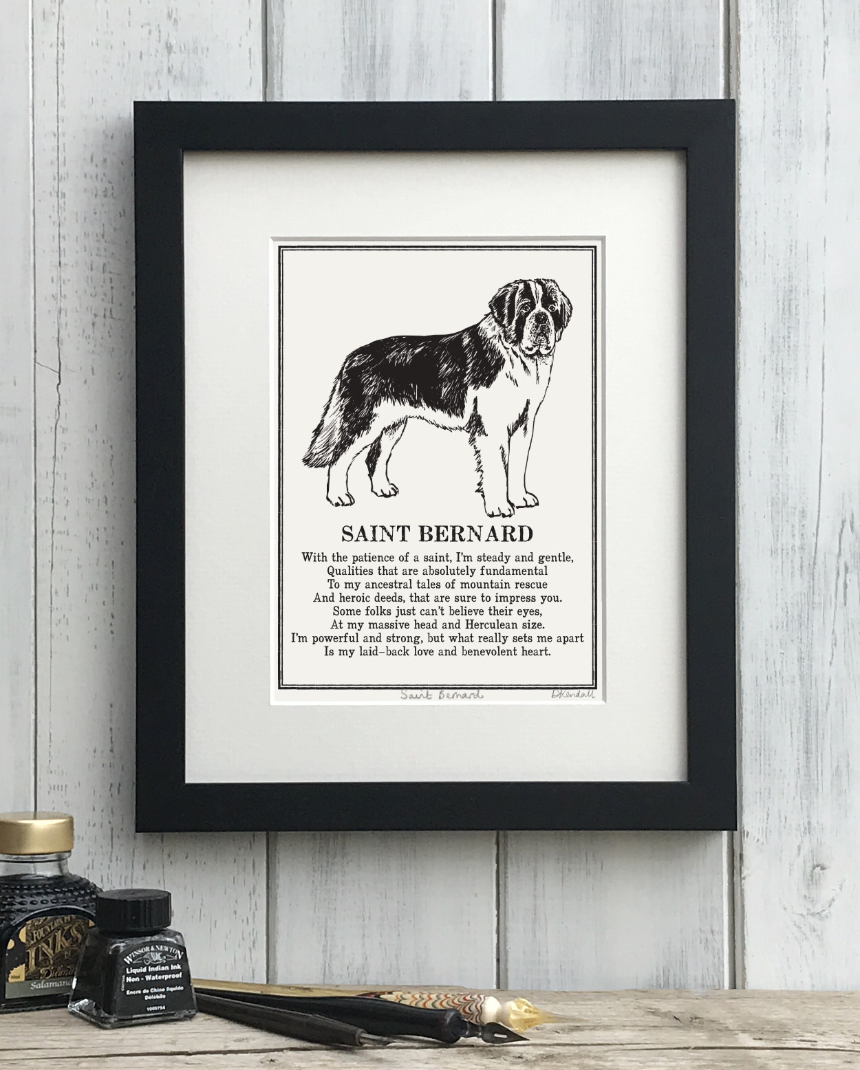 Saint Bernard Doggerel Illustrated Poem Art Print | The Enlightened Hound