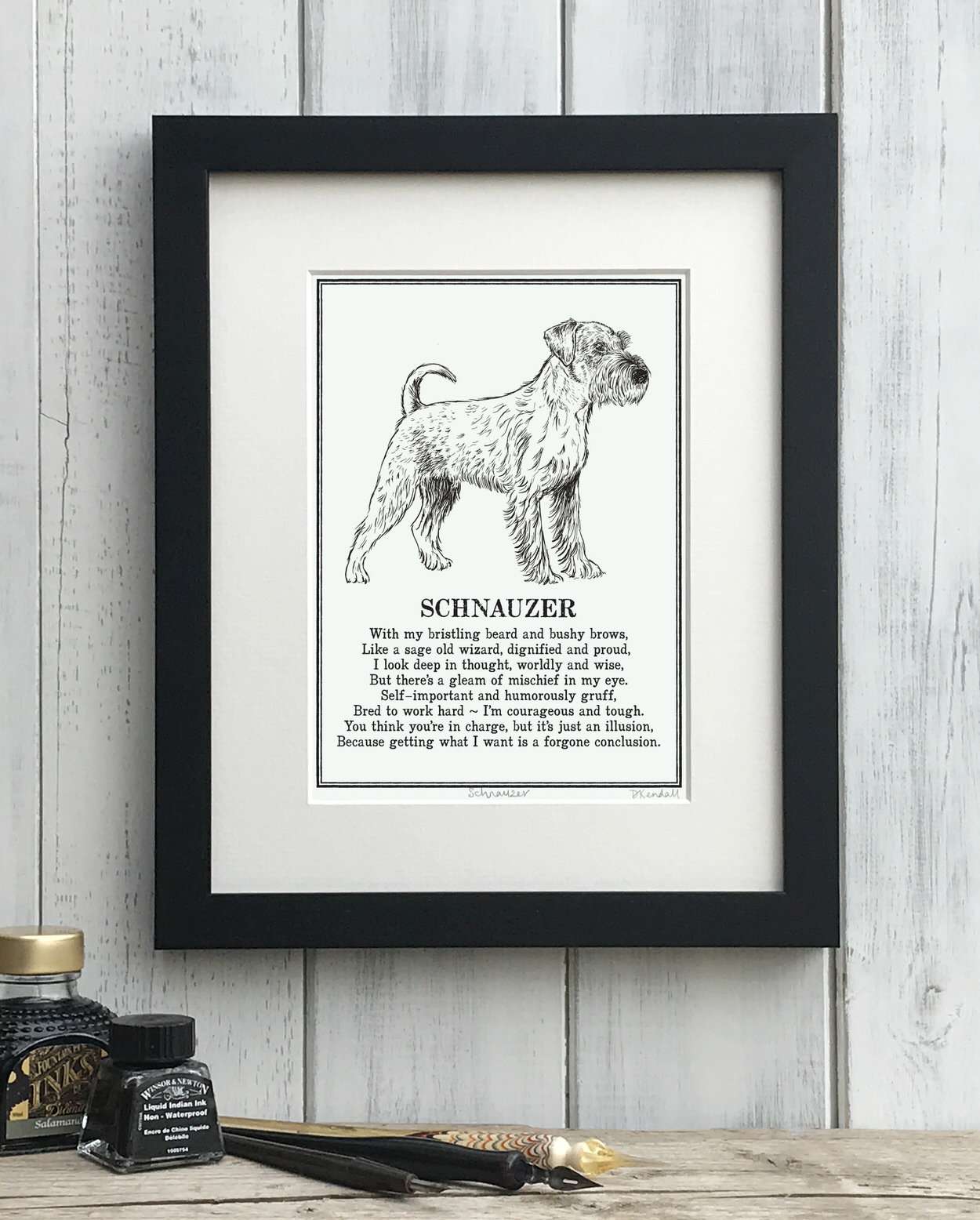 Schnauzer print illustrated poem by The Enlightened Hound