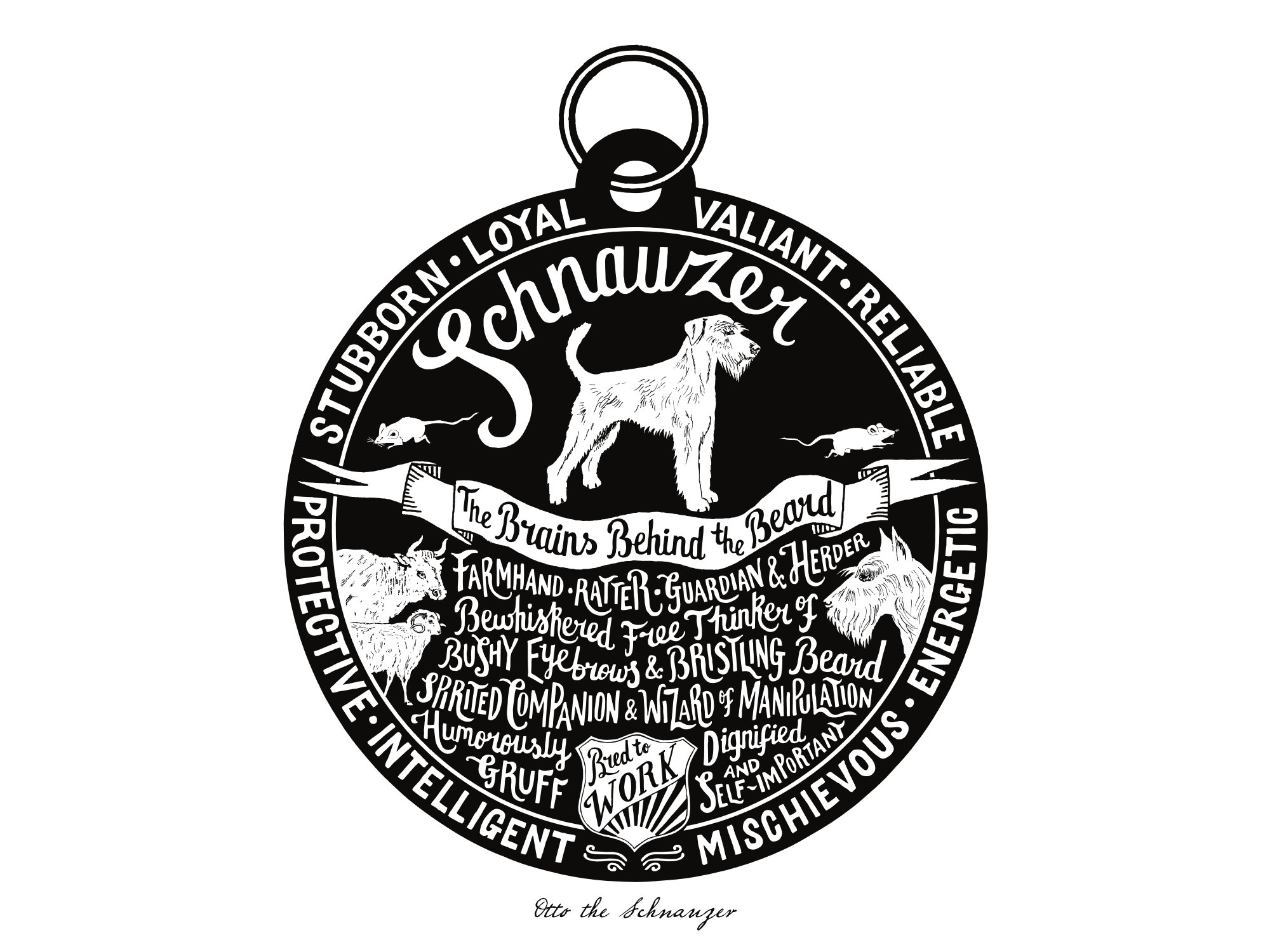 Schnauzer Dog Tag Print