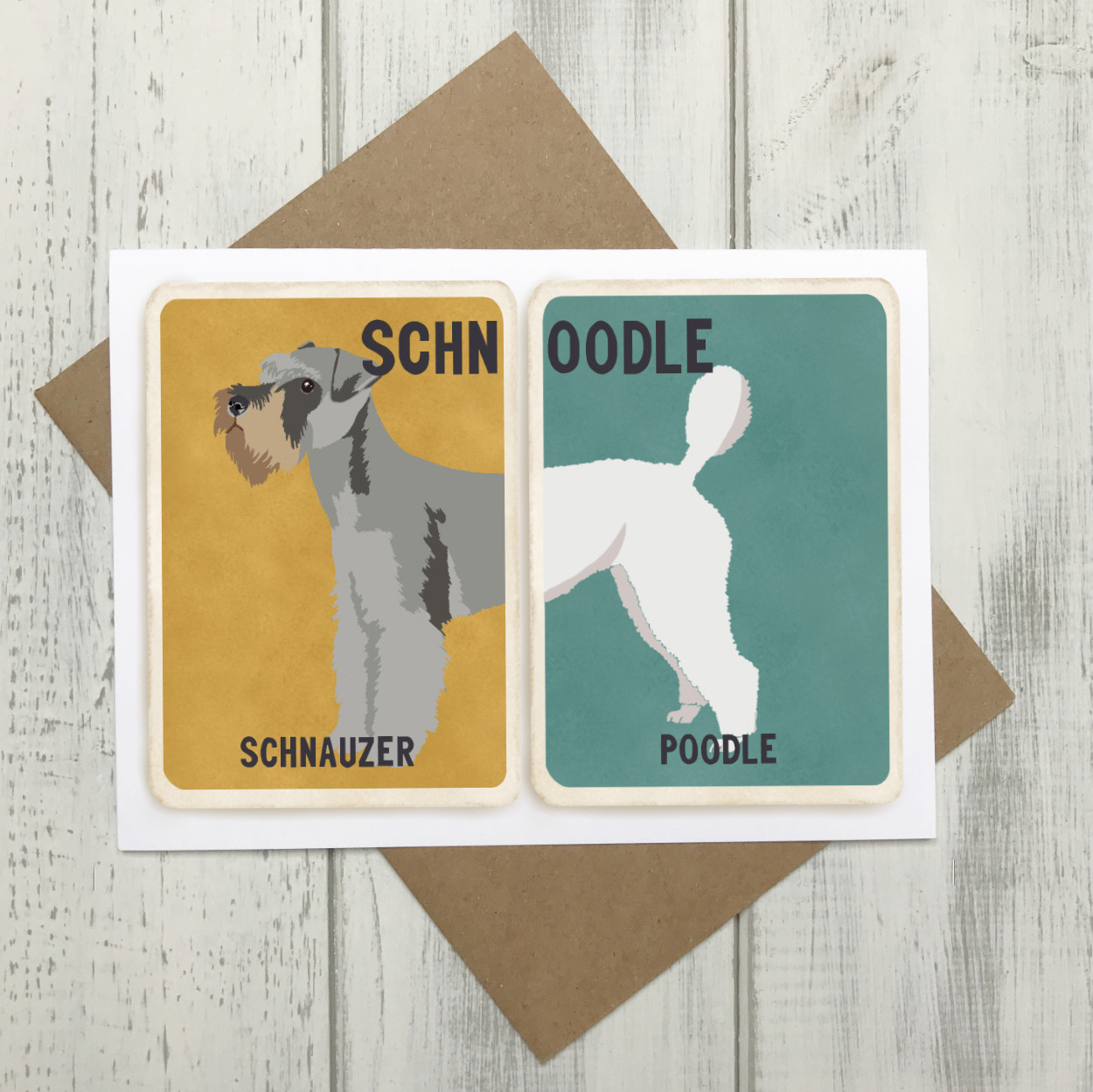 Schnoodle Cross Breed Card | Schnauzer Poodle Cross