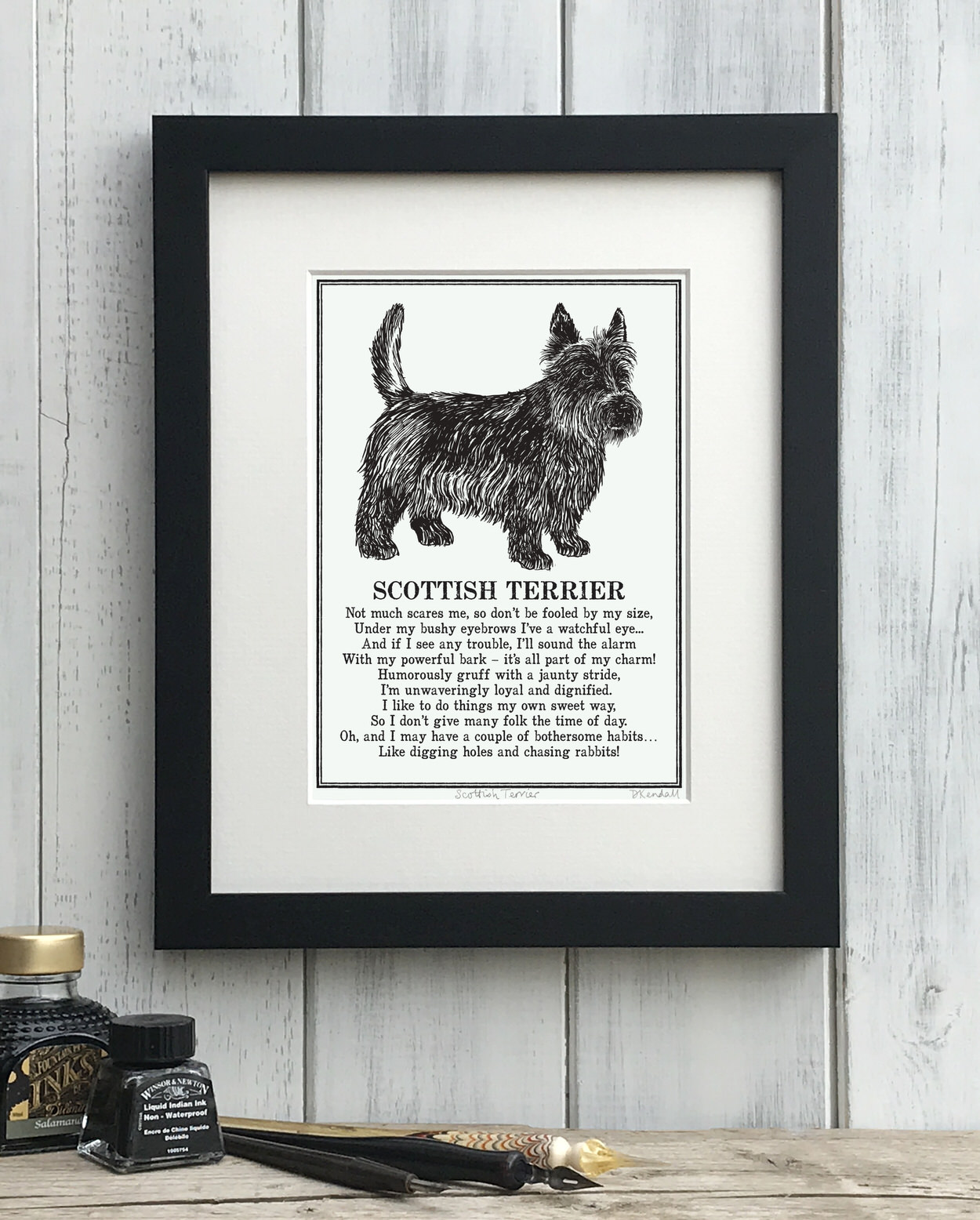Scottish Terrier print illustrated poem by The Enlightened Hound