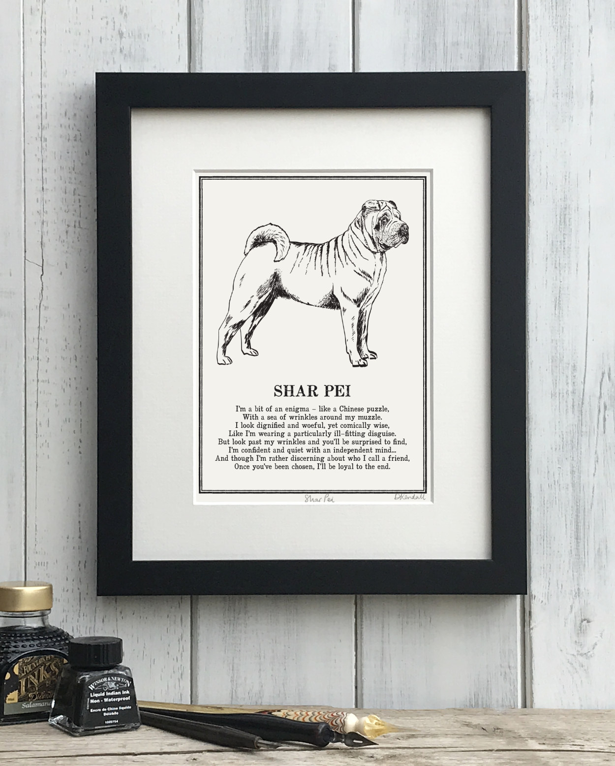 Shar Pei print illustrated poem by The Enlightened Hound