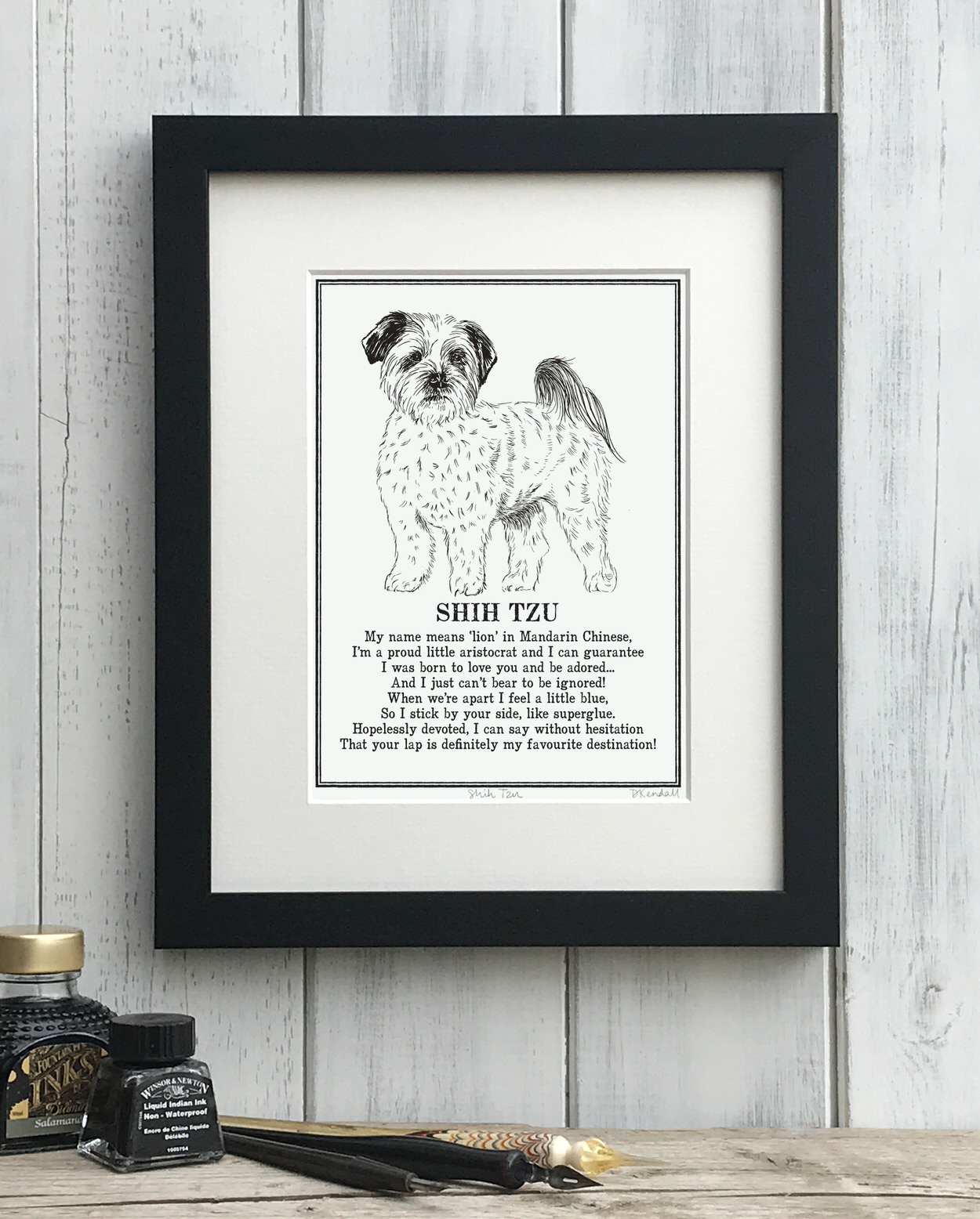 Shih Tzu print illustrated poem by The Enlightened Hound