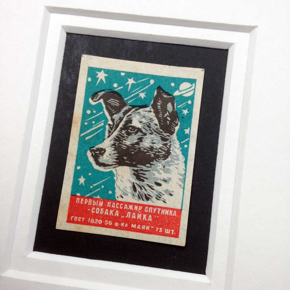 Vintage Gift for Dog Lover: Space Dog Laika by The Enlightened Hound
