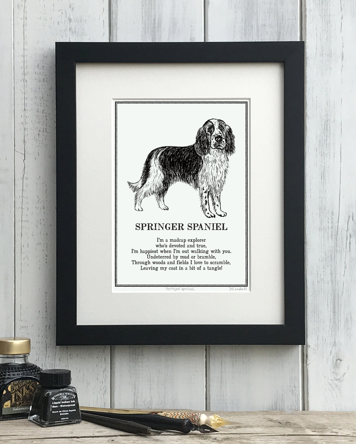 Springer Spaniel print illustrated poem by The Enlightened Hound