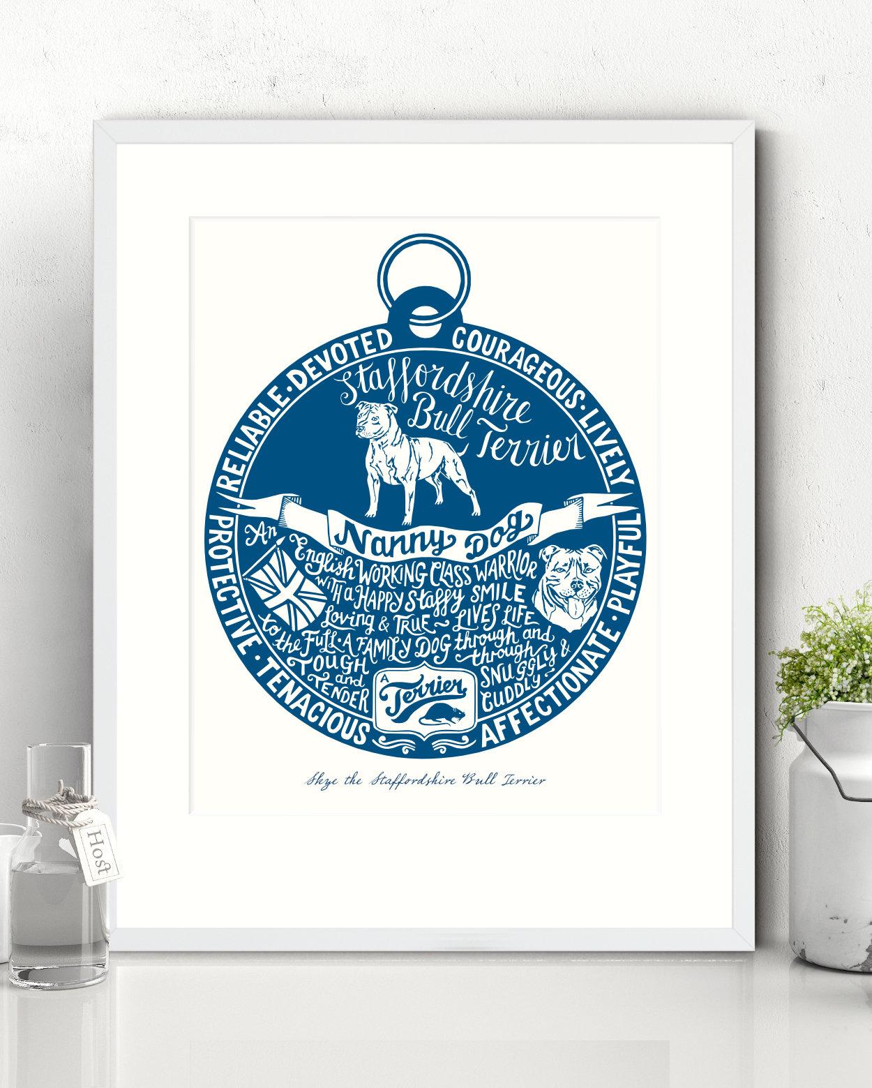 Staffordshire Bull Terrier Illustrated Art Print | The Enlightened Hound