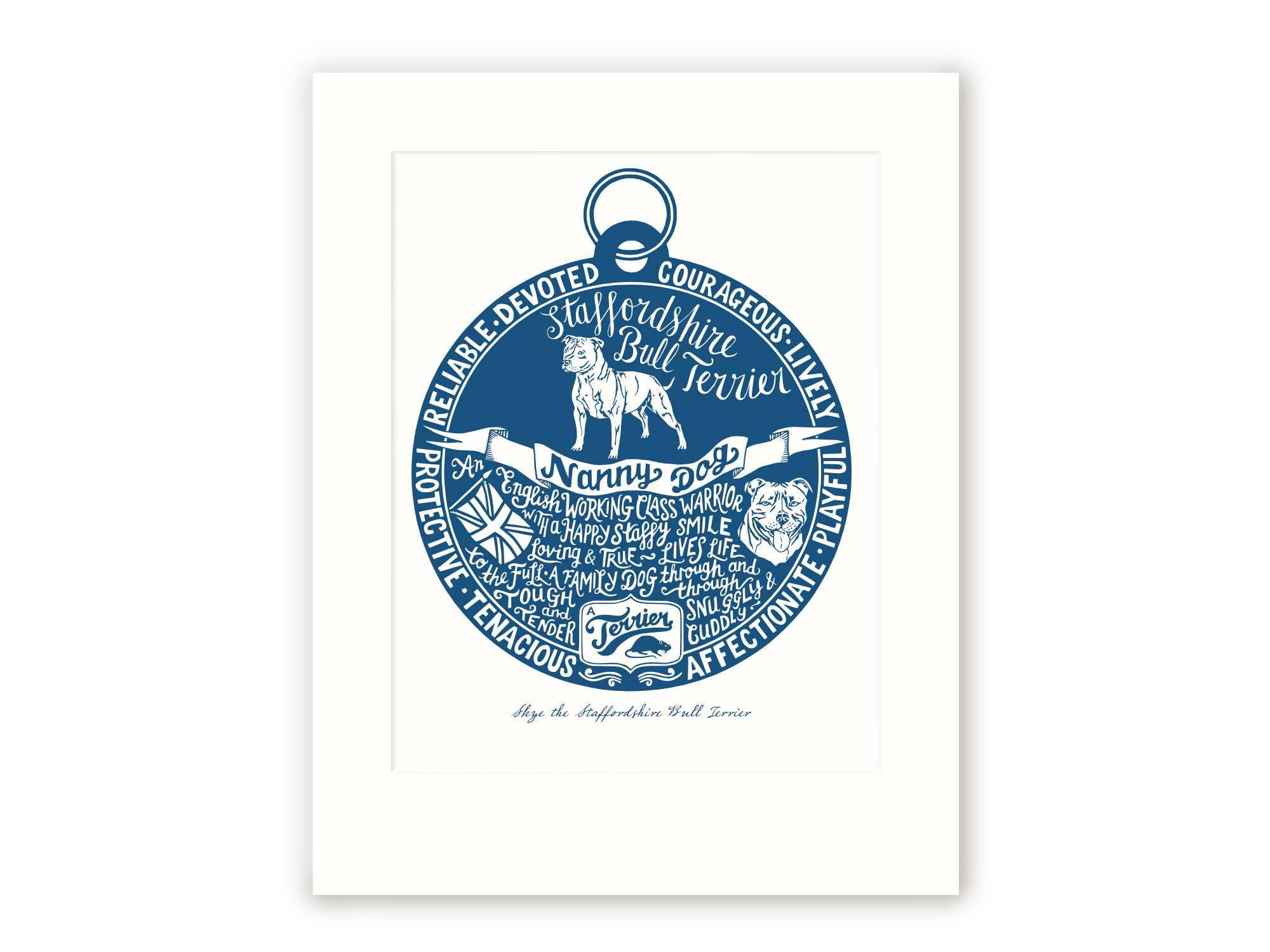 Staffordshire bull terrier  - Personalised Prints for Dog Lovers by The Enlightened Hound