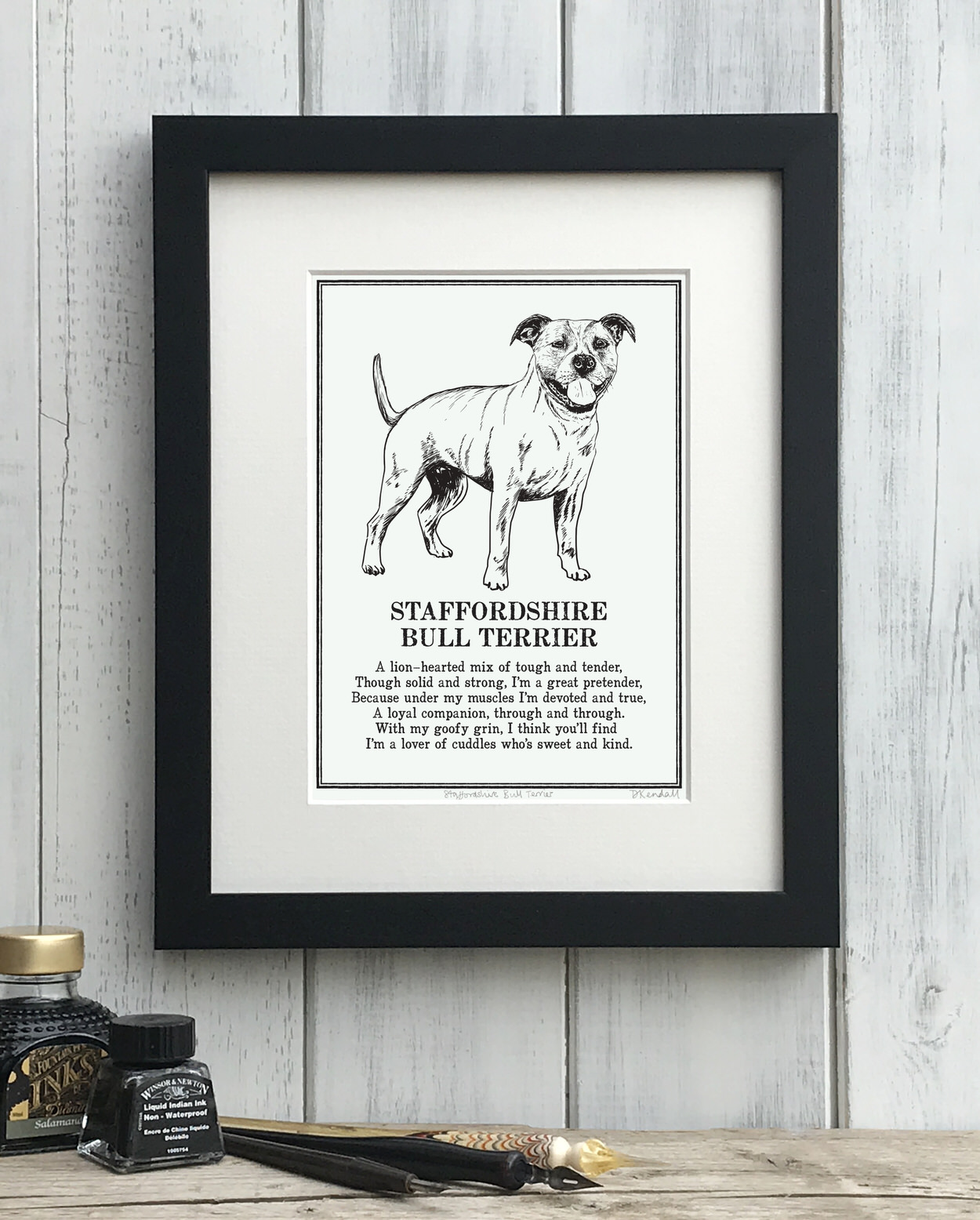 Staffordshire Bull Terrier dog print illustrated poem by The Enlightened Hound