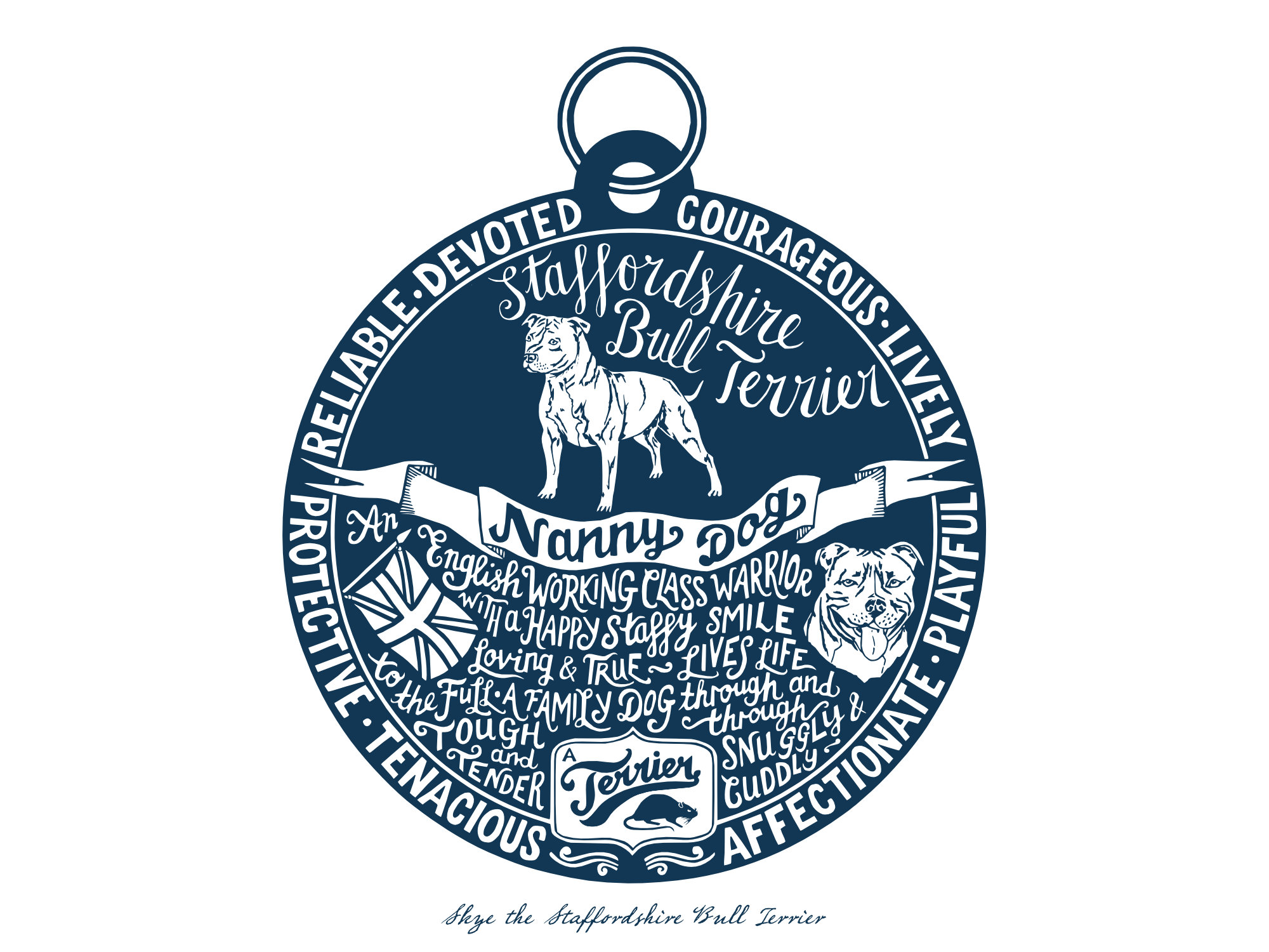 Staffordshire bull terrier prints - Hand lettering & Illustration by Debbie Kendall