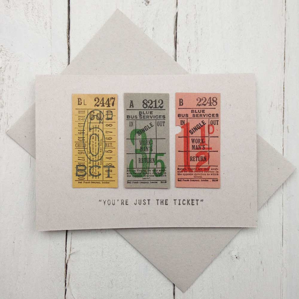 Just The Ticket Vintage Handmade Card | The Enlightened Hound
