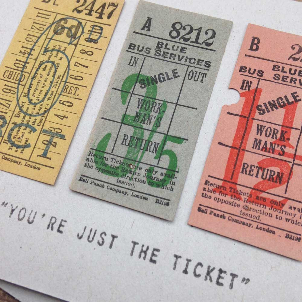 Bus Ticket handmade vintage greeting card | The Enlightened Hound