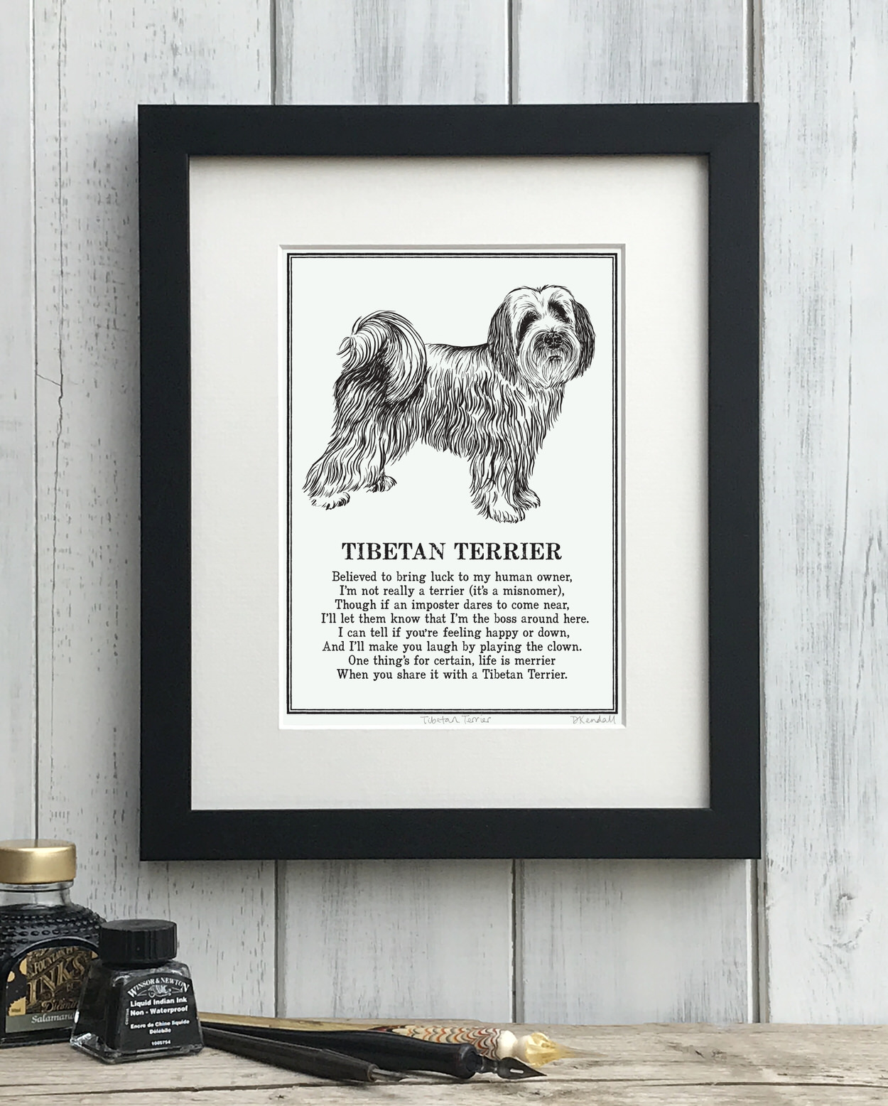 Tibetan Terrier print illustrated poem by The Enlightened Hound
