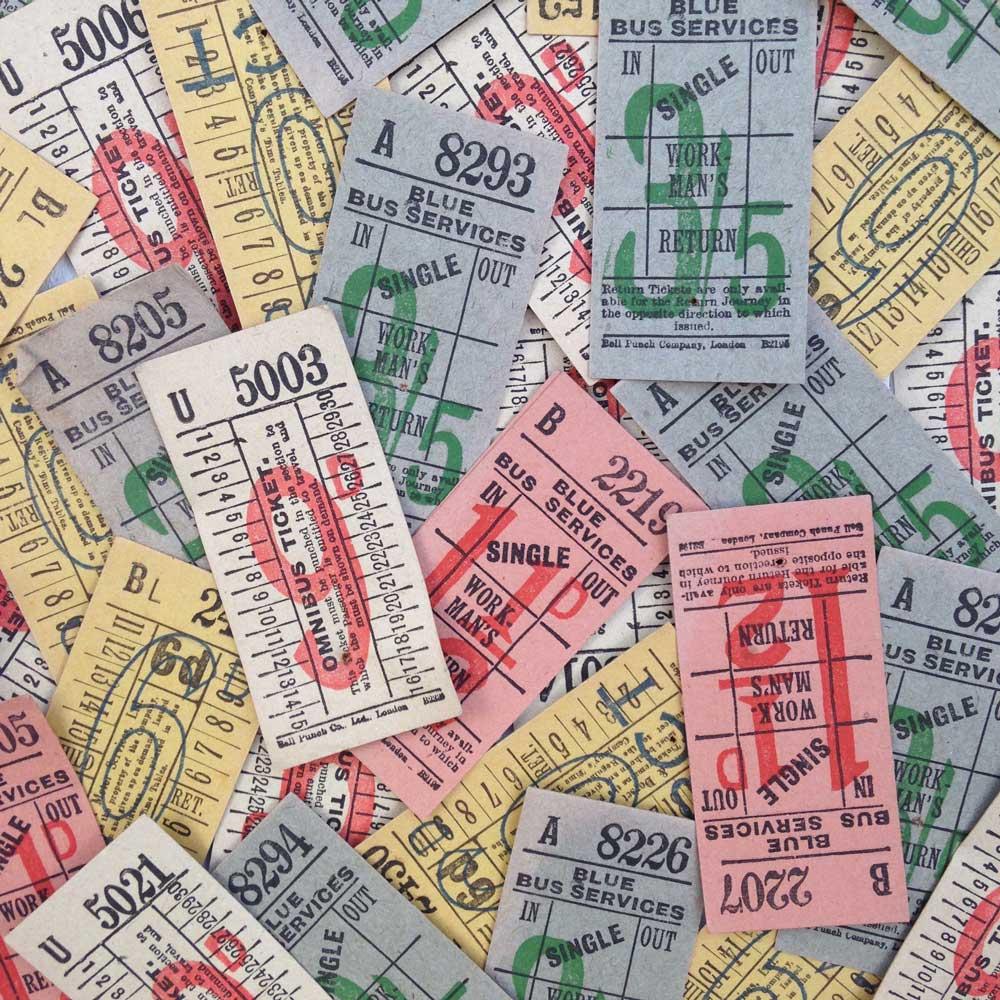 Vintage bus tickets Debbie Kendall