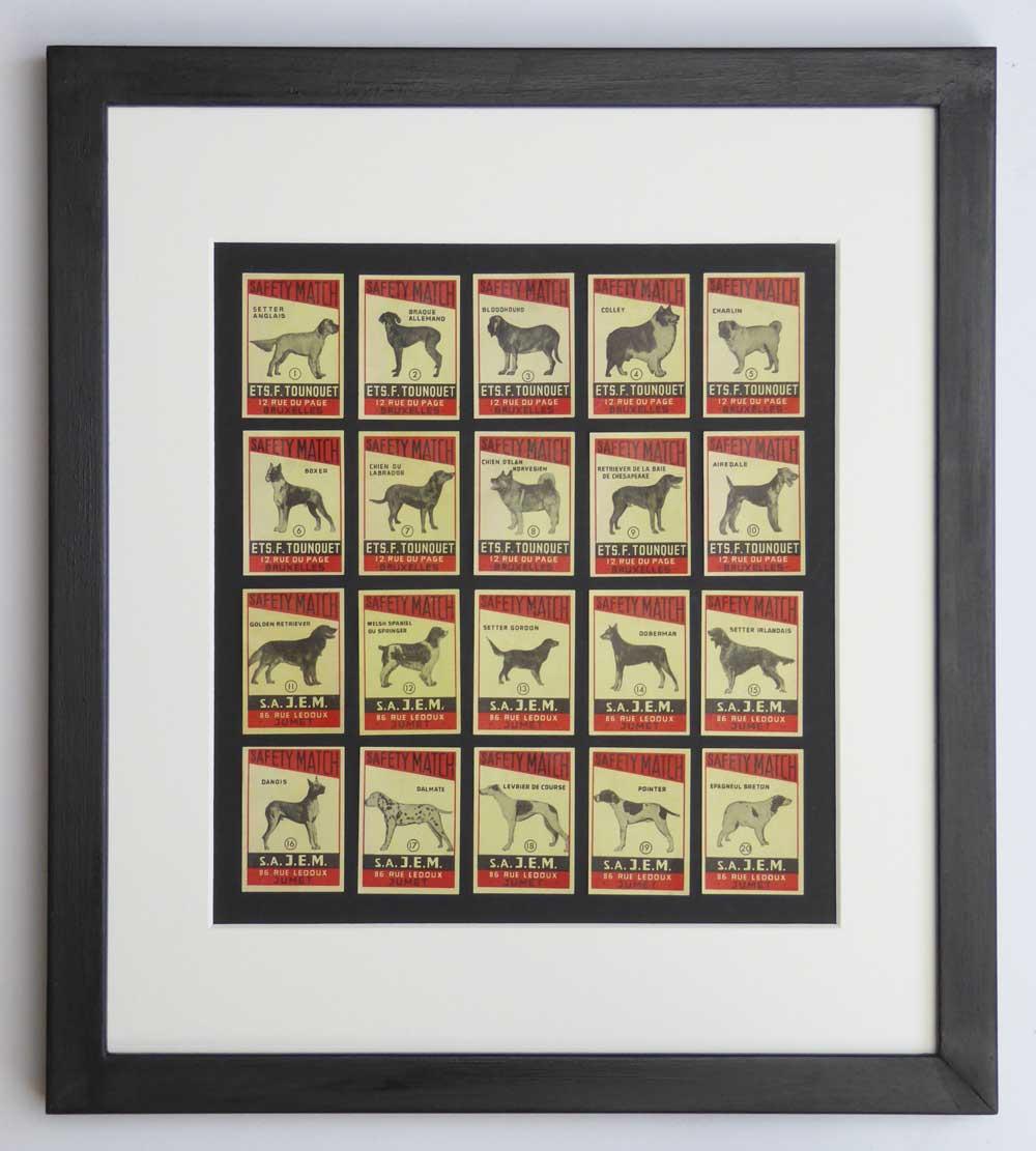 Vintage gift for dog lover - Set of Dog Breed Matchbox labels - The Enlightened Hound