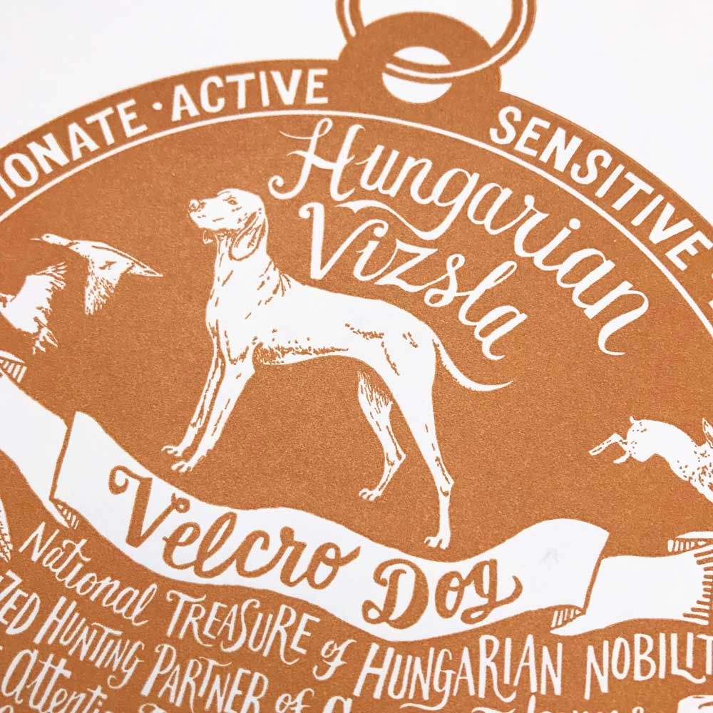 hungarian Vizsla dog art prints - Hand lettering & Illustration by Debbie Kendall