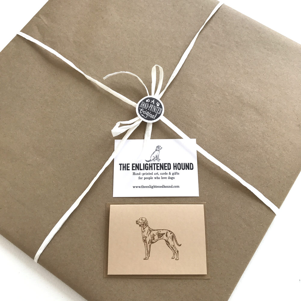 Gift wrapped Vizsla print | The Enlightened Hound