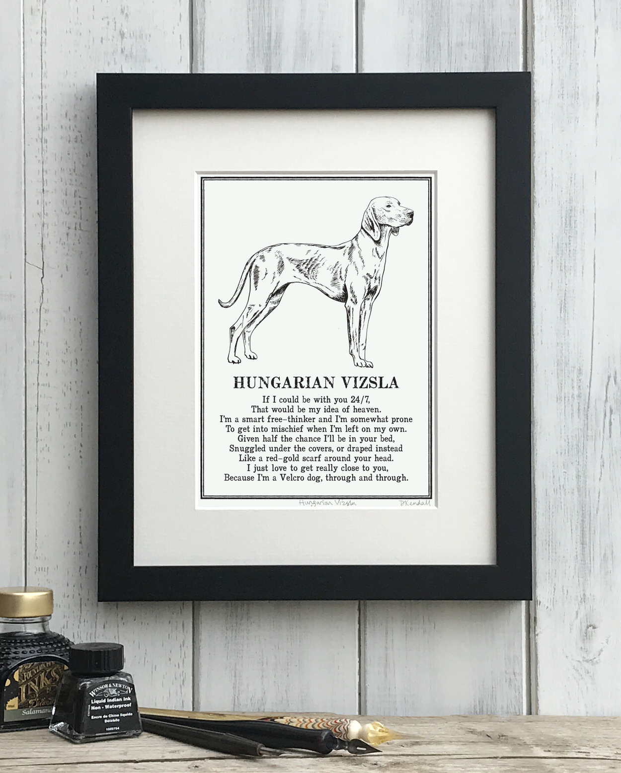 Vizsla print illustrated poem by The Enlightened Hound