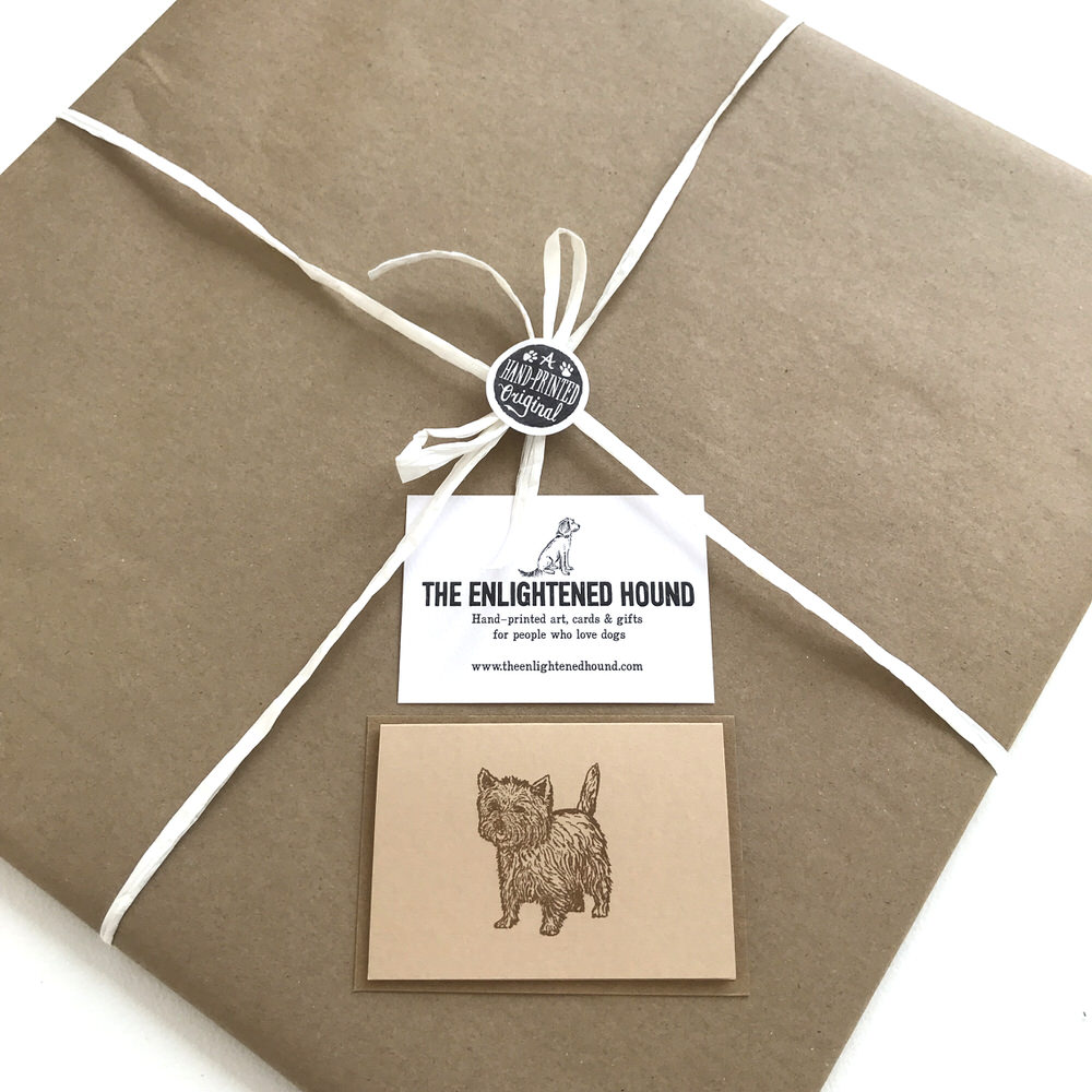 Gift wrapped Westie print | The Enlightened Hound