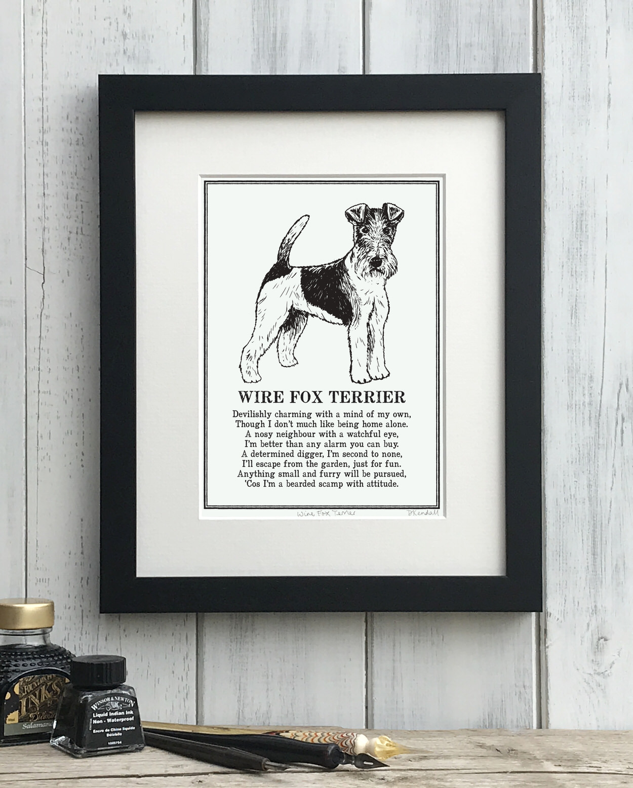 Wire Fox Terrier print illustrated poem by The Enlightened Hound