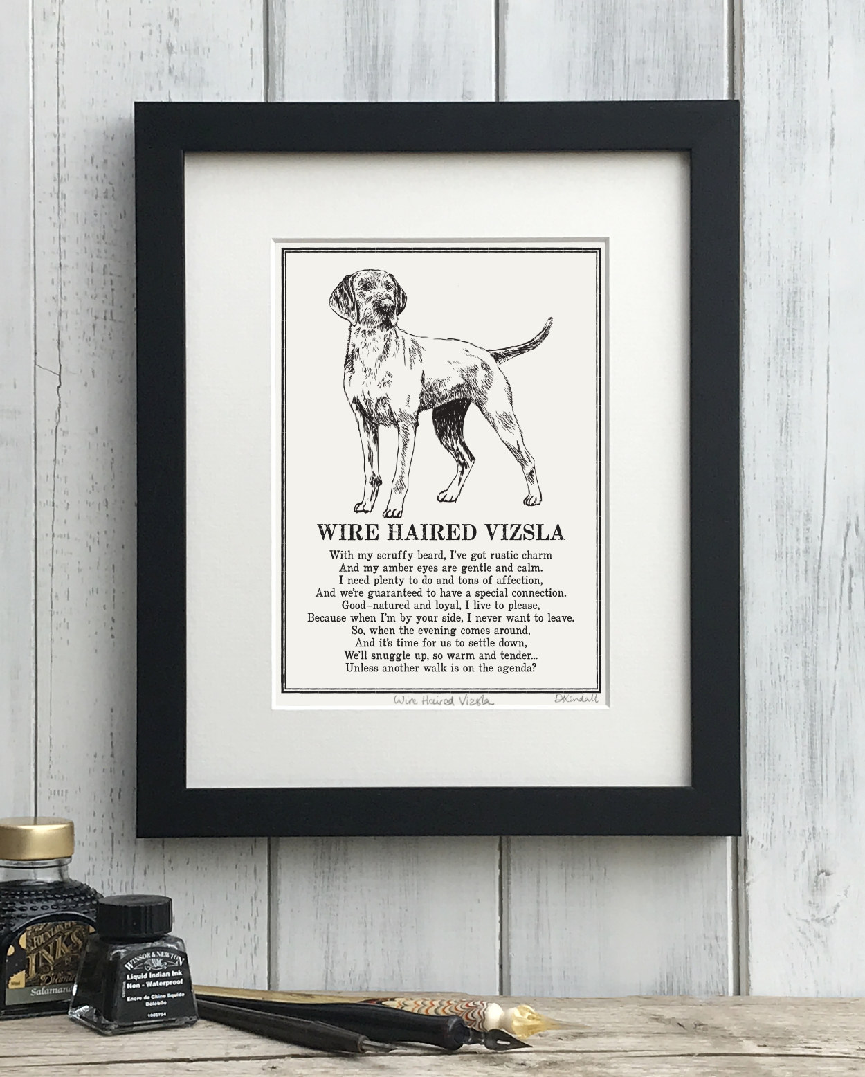Wire Haired Vizsla Illustrated Poem Print | The Enlightened Hound