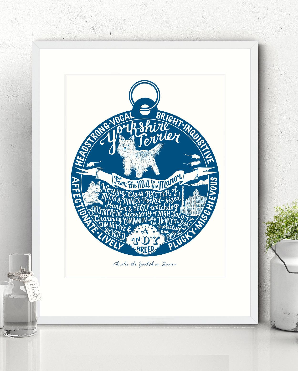 Yorkshire Terrier Illustrated Art Print | The Enlightened Hound