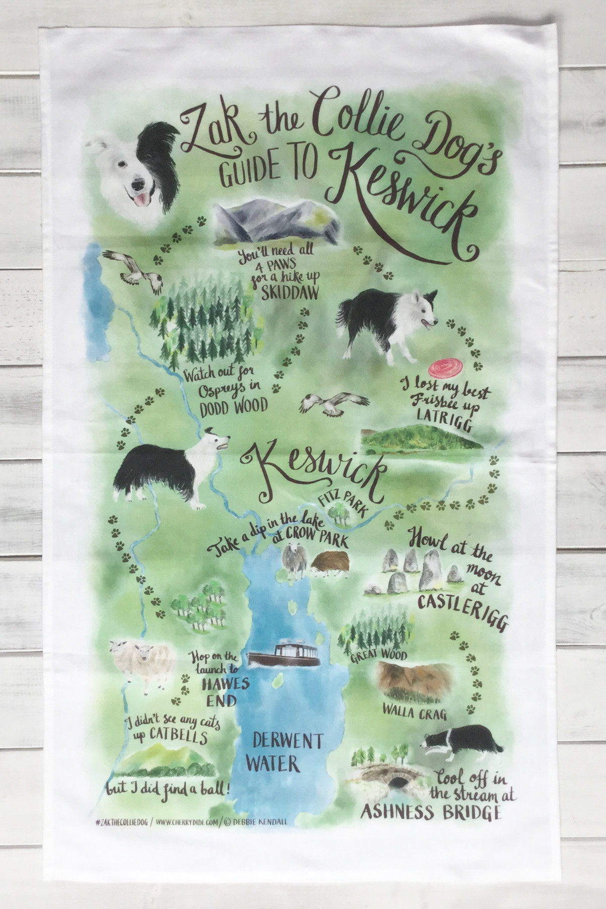 Keswick Lake District Tourism Illustration Tea Towel | The Enlightened Hound
